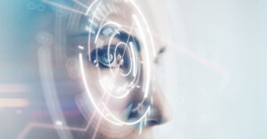A close-up of a woman's face surrounded by a digital space.