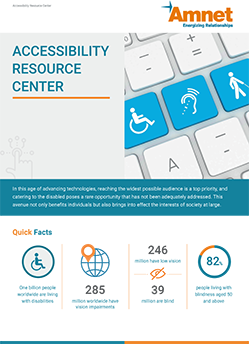 """A brochure titled """"Accessibility Resource Center"""" shows three disability keys with some quick facts"""